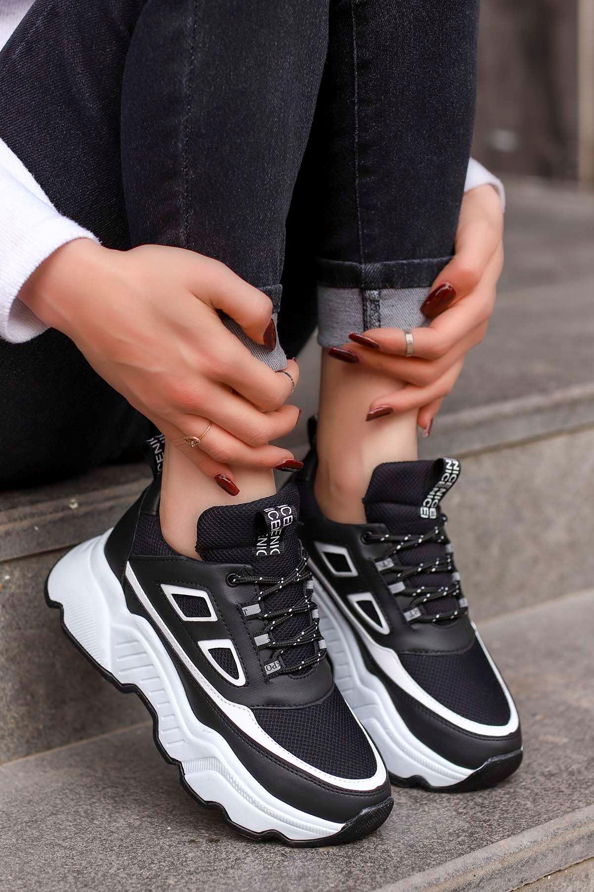 Frm-107 Spor Ayakkabı Siyah Beyaz Detay