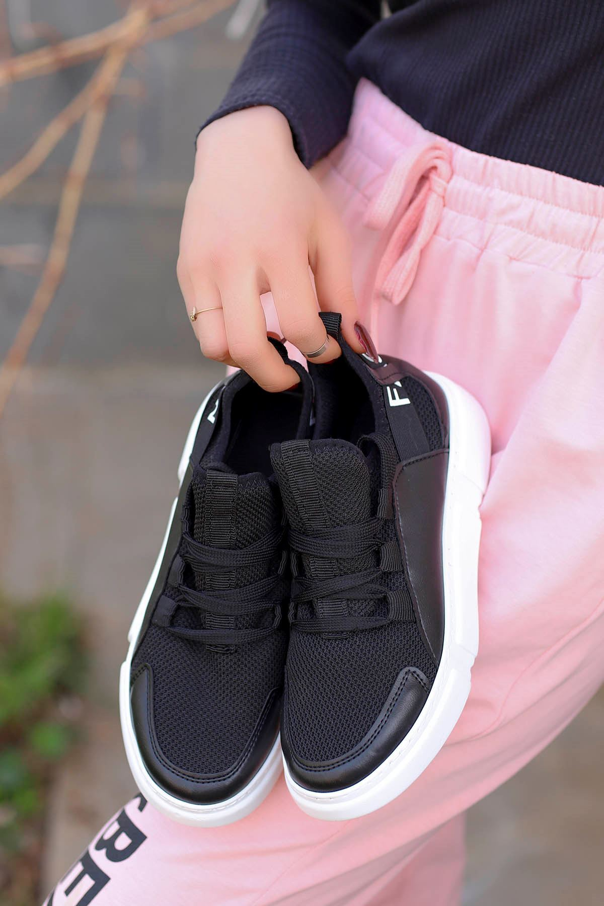 Örn-300 Siyah Deri Fashion Spor Ayakkabı