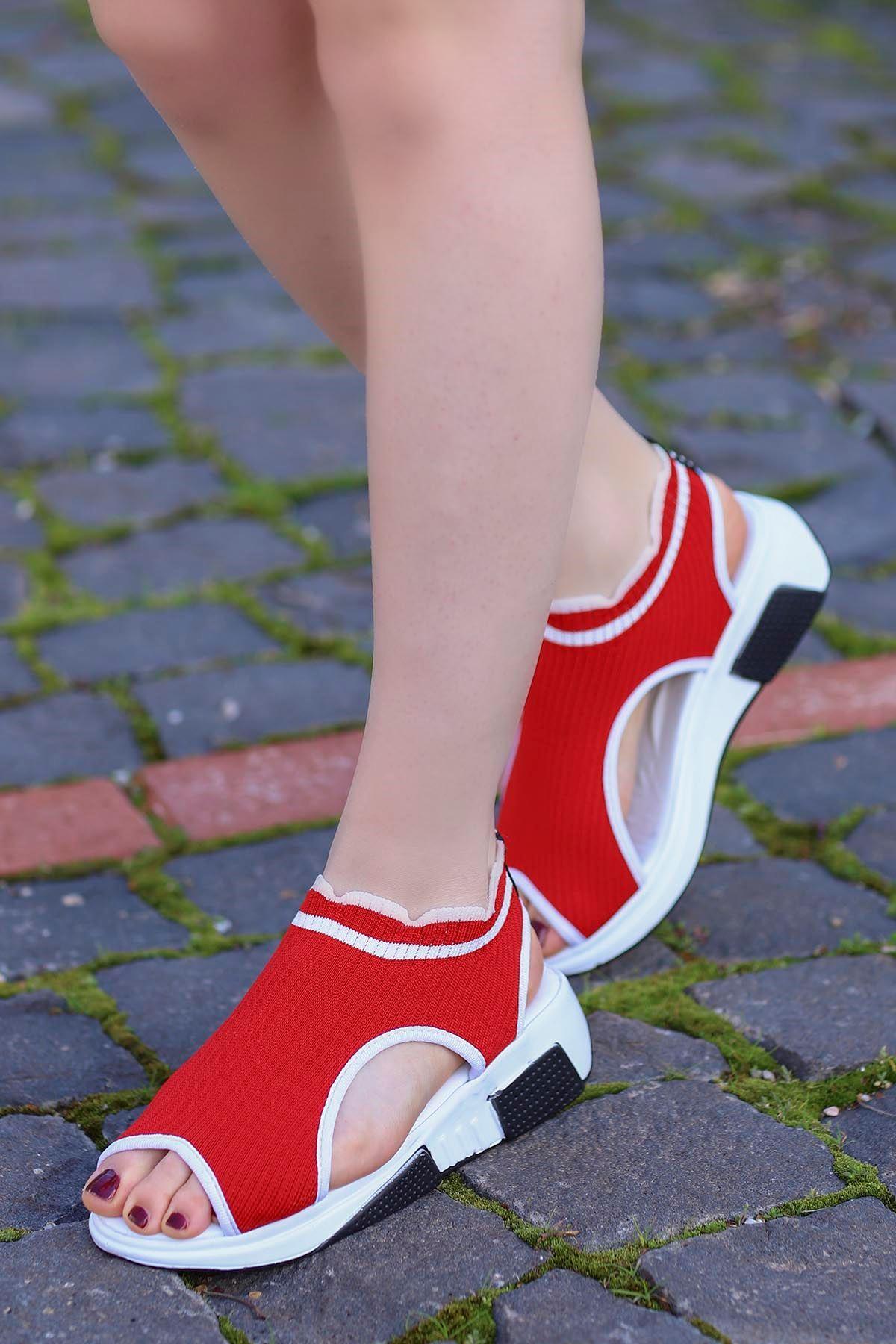 Sng-211 Triko Sandalet Kırmızı