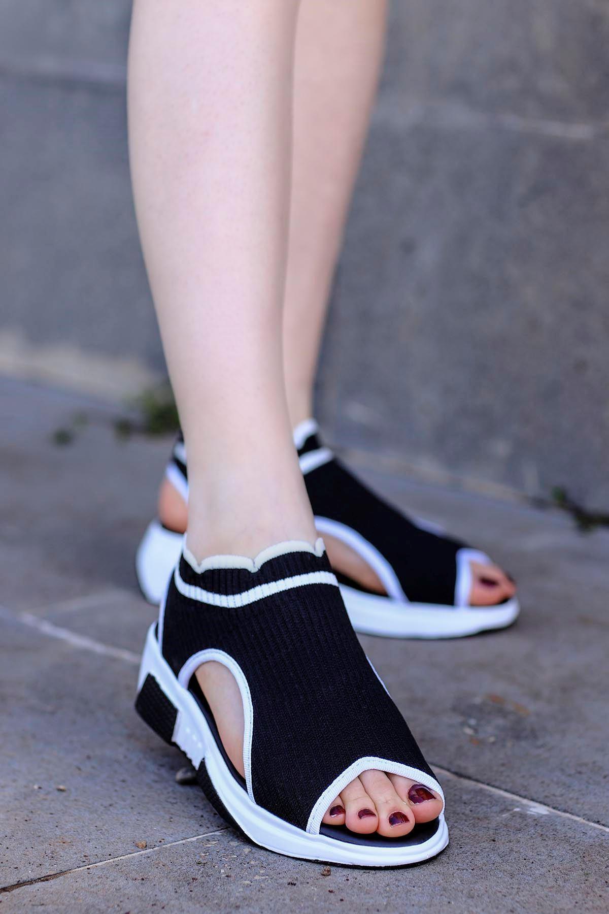 Sng-211 Triko Sandalet  Siyah