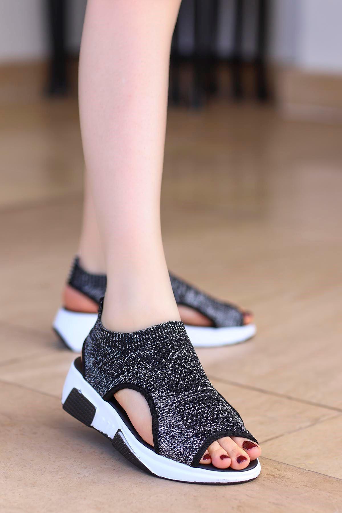 Sng-211 Triko Sandalet Siyah Simli