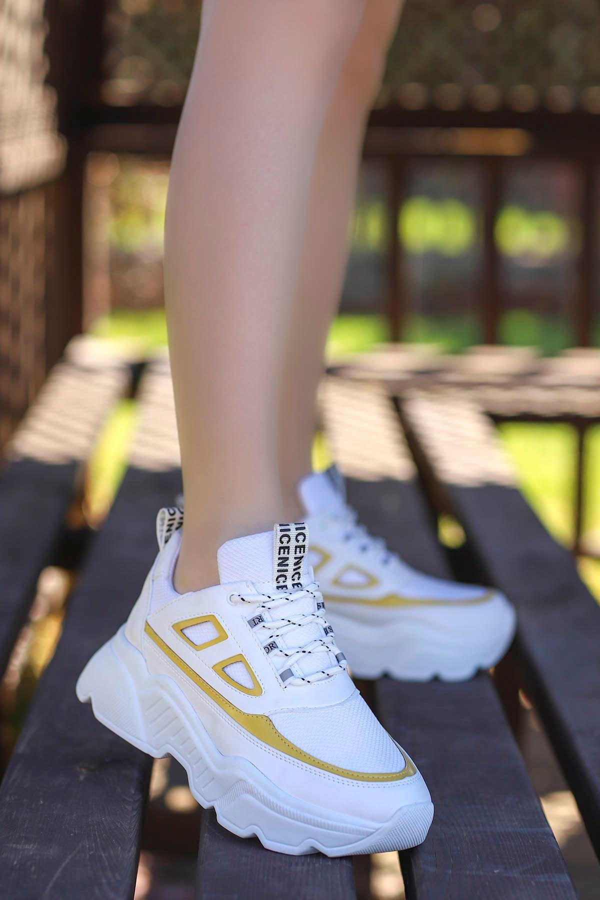 Frm-107 Spor Ayakkabı Beyaz Sarı Detay