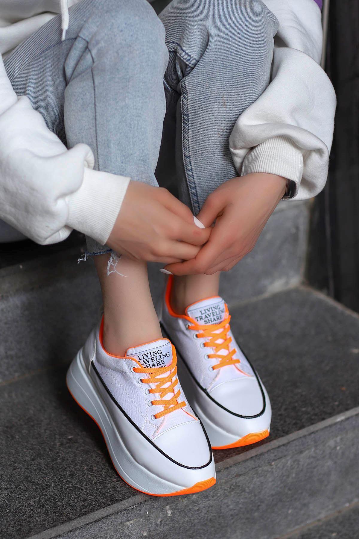 Roma Tabanlı Spor Ayakkabı Beyaz Keten