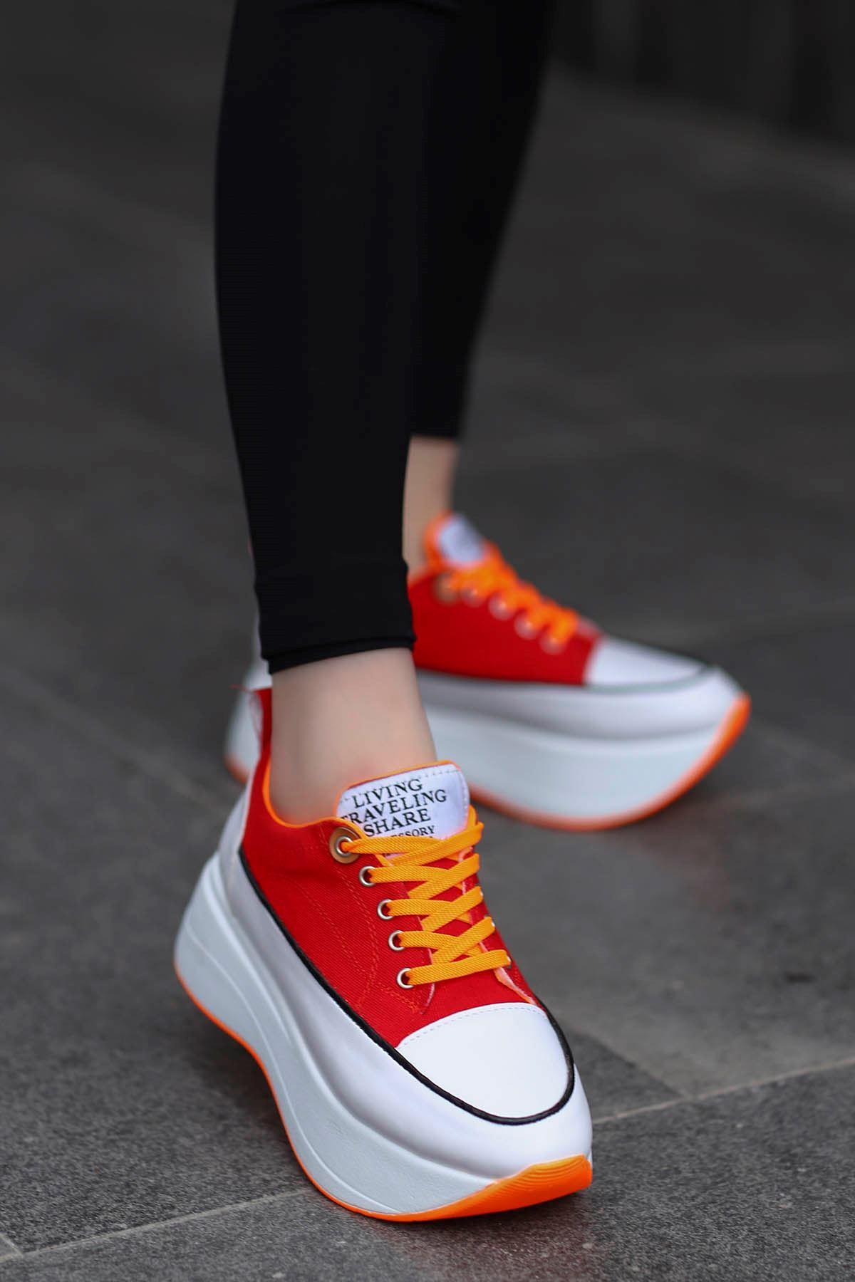 Roma Tabanlı Spor Ayakkabı Kırmızı Keten