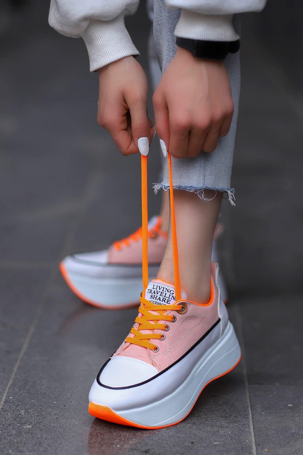 Roma Tabanlı Spor Ayakkabı Pudra Keten