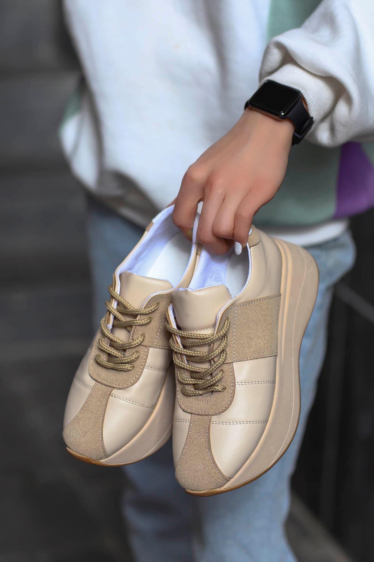 Roma Tabanlı Spor Ayakkabı Nut Deri