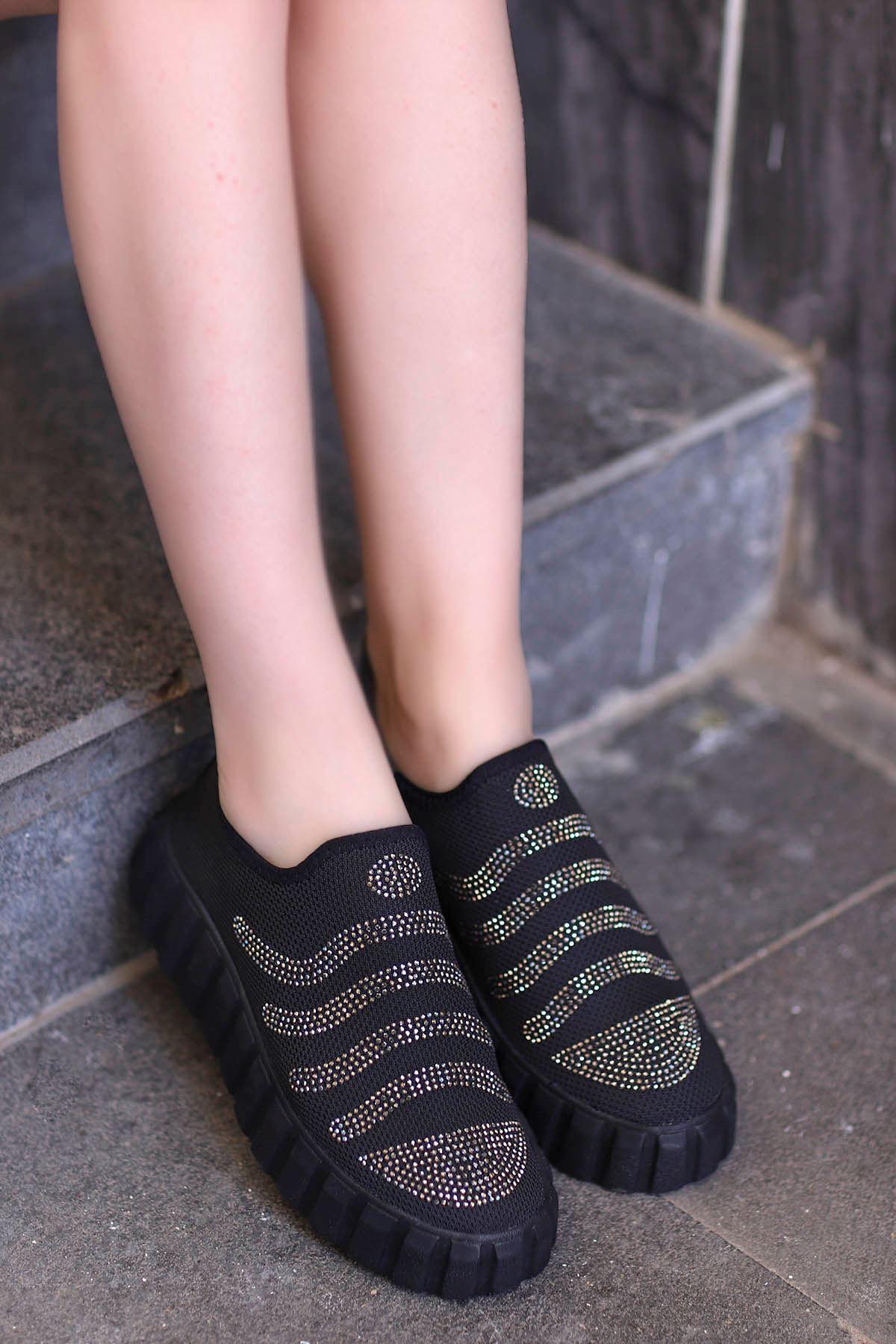Nairobi Tabanlı Spor Ayakkabı Siyah Triko Taşlı