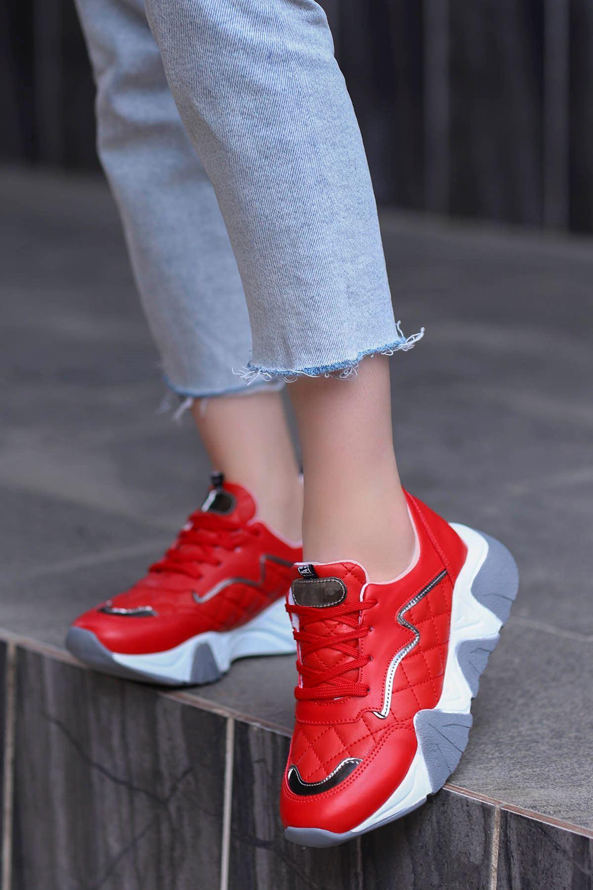 Rio Tabanlı Spor Ayakkabı Kırmızı Deri