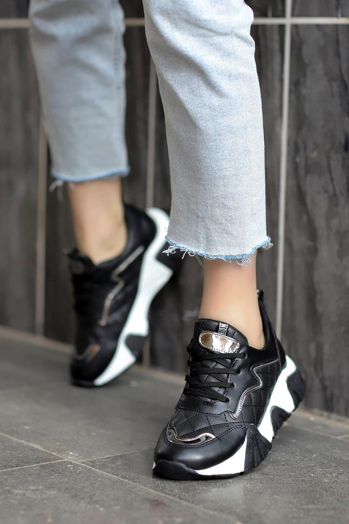Rio Tabanlı Spor Ayakkabı Siyah Deri