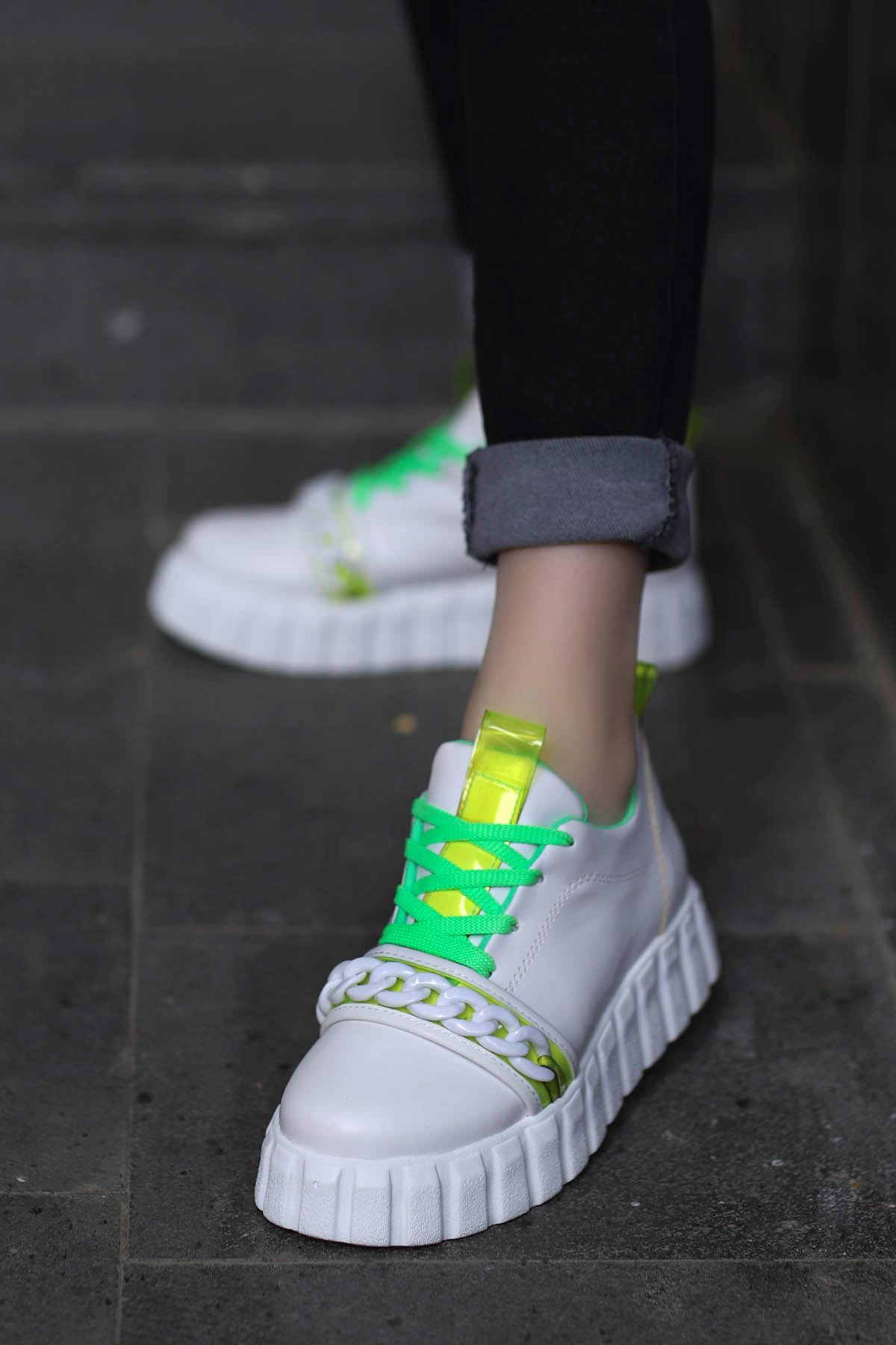 Paris Tabanlı Spor Ayakkabı Beyaz Yeşil Detay
