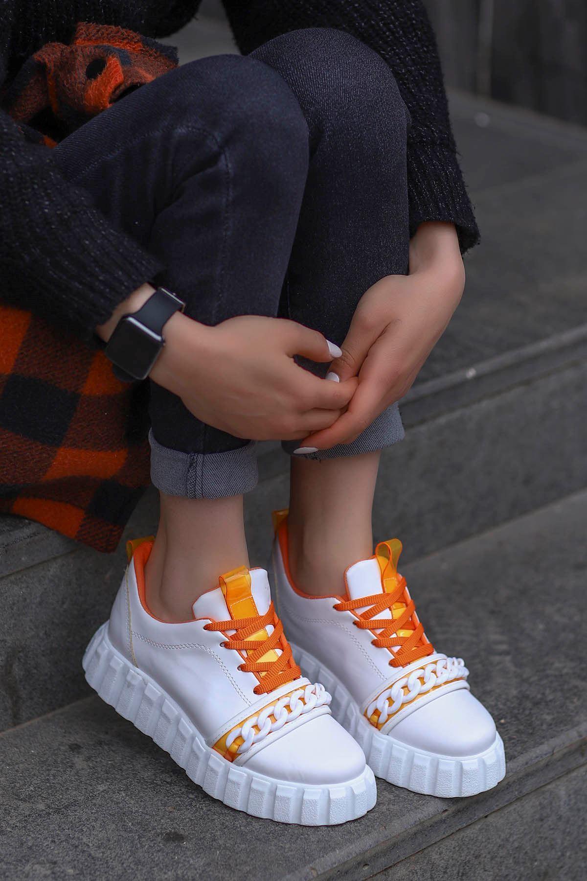 Paris Tabanlı Spor Ayakkabı Beyaz Turuncu Detay