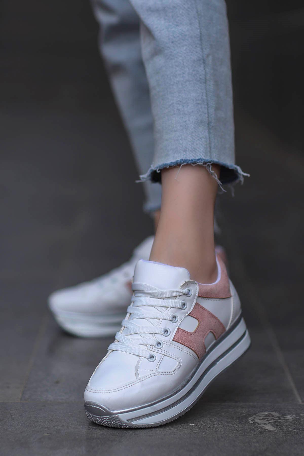 Sofia Spor Ayakkabı Beyaz Pudra Detay