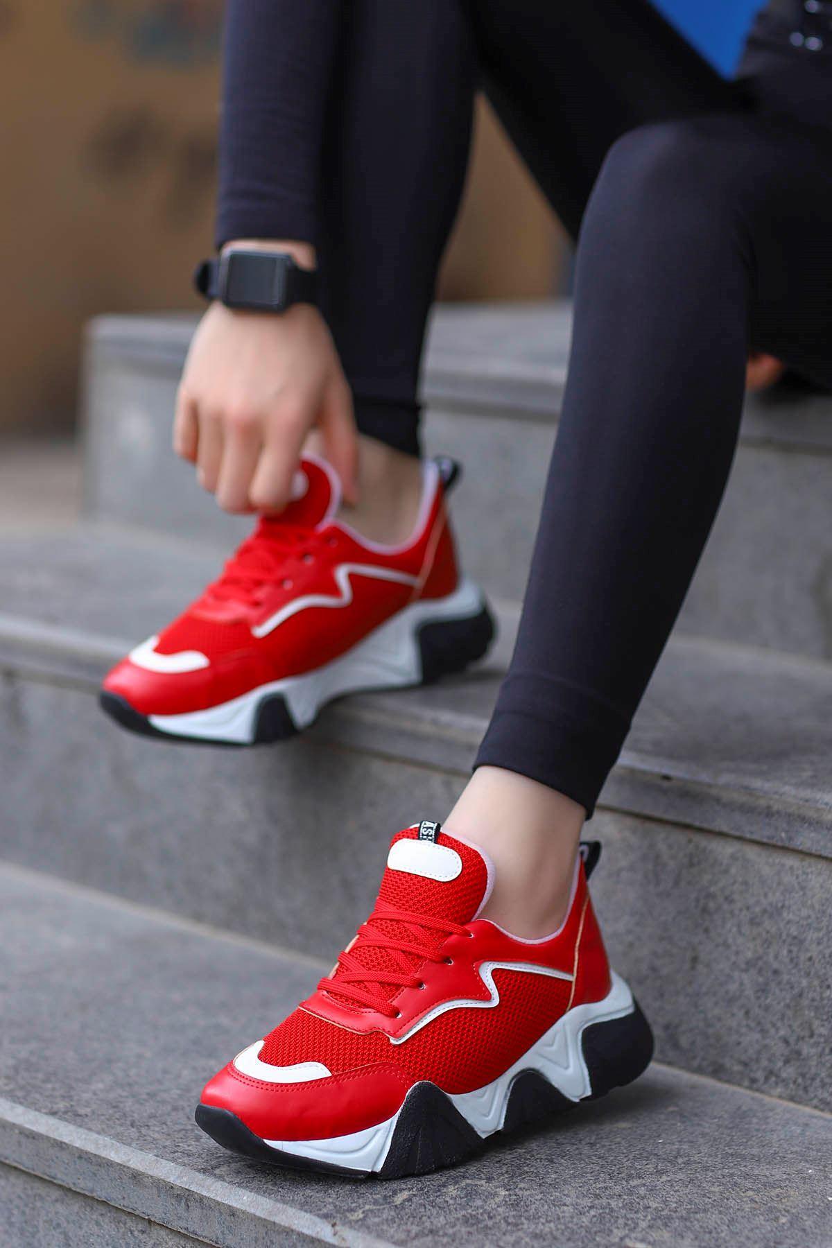Steel Tabanlı Spor Ayakkabı Kırmızı Anorak