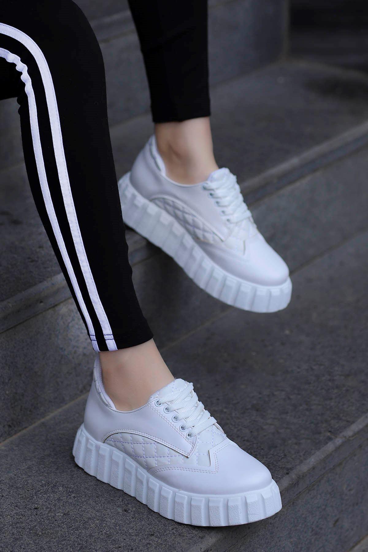 Zeta Tabanlı Spor Ayakkabı Beyaz Deri
