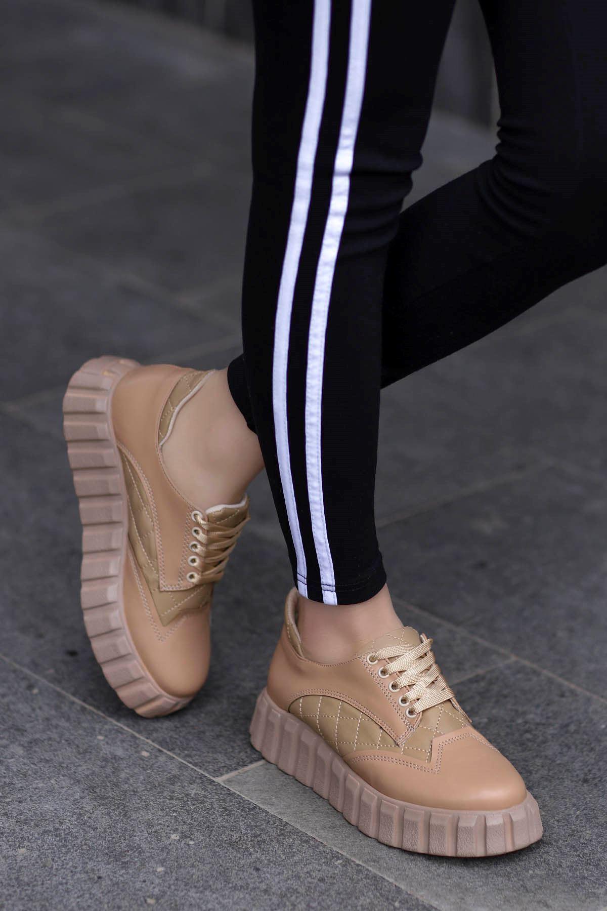Zeta Tabanlı Spor Ayakkabı Nut Deri