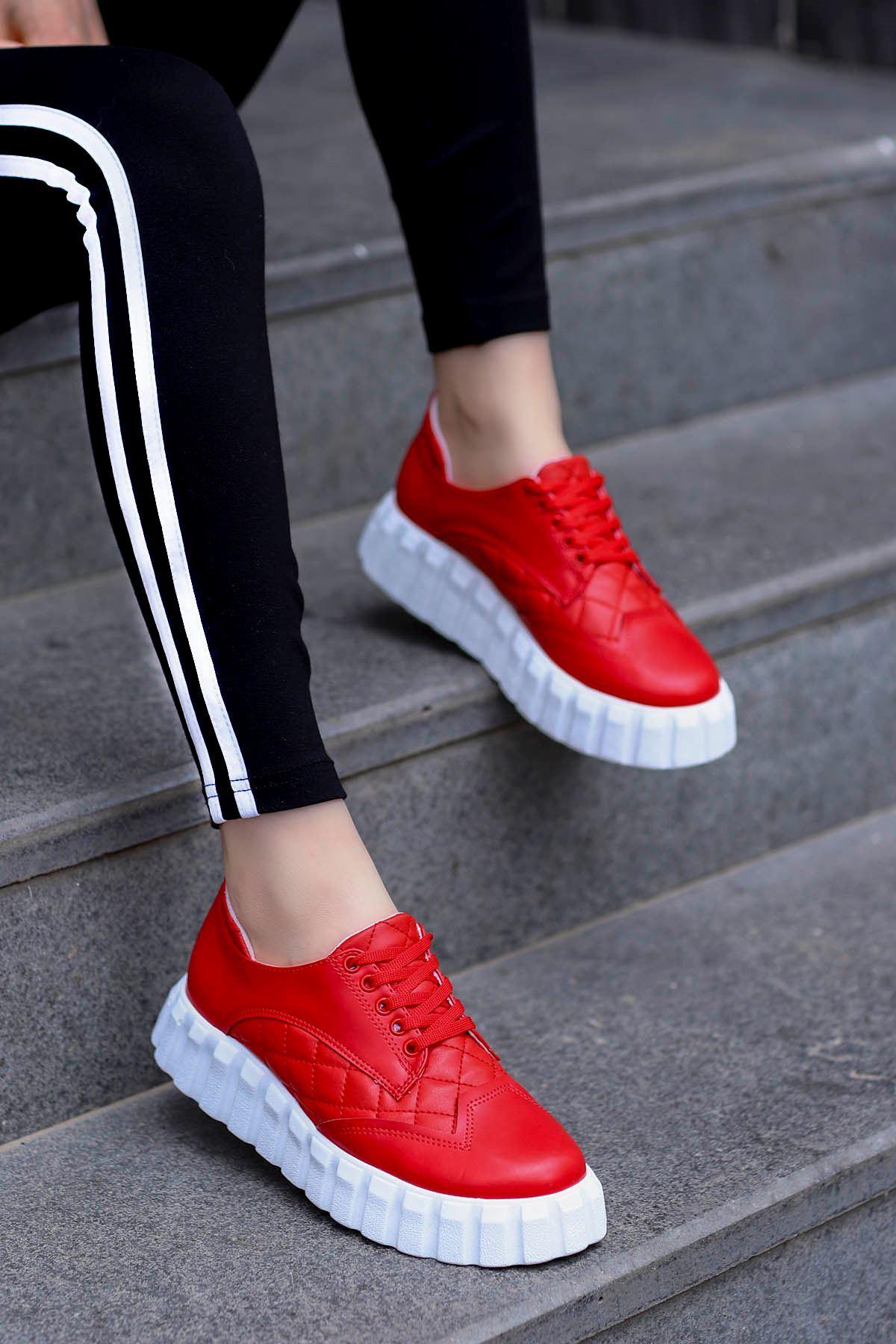 Zeta Tabanlı Spor Ayakkabı Kırmızı Deri