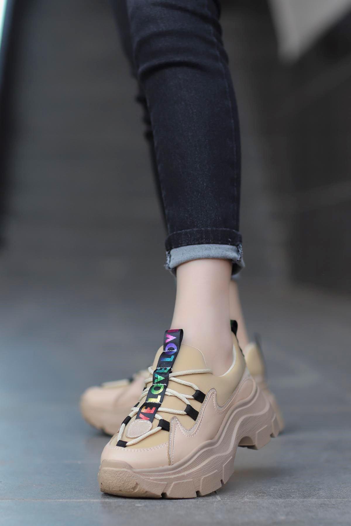 Jennifer Love Tabanlı Spor Ayakkabı Nut