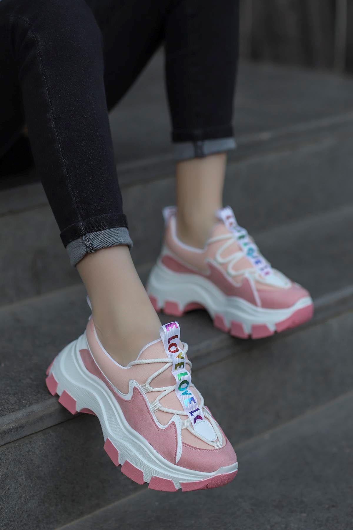 Jennifer Love Tabanlı Spor Ayakkabı Pudra