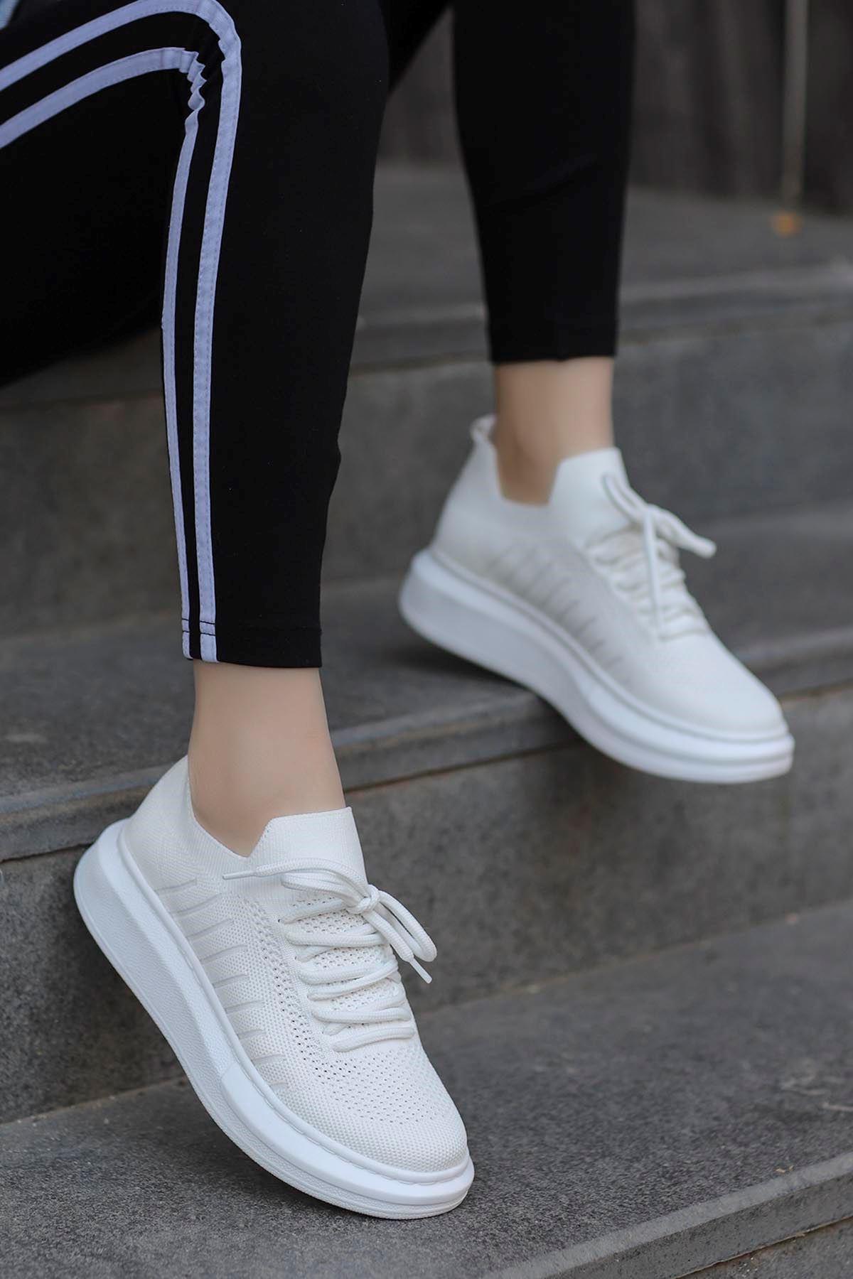 Atlas Triko Spor Ayakkabı Beyaz
