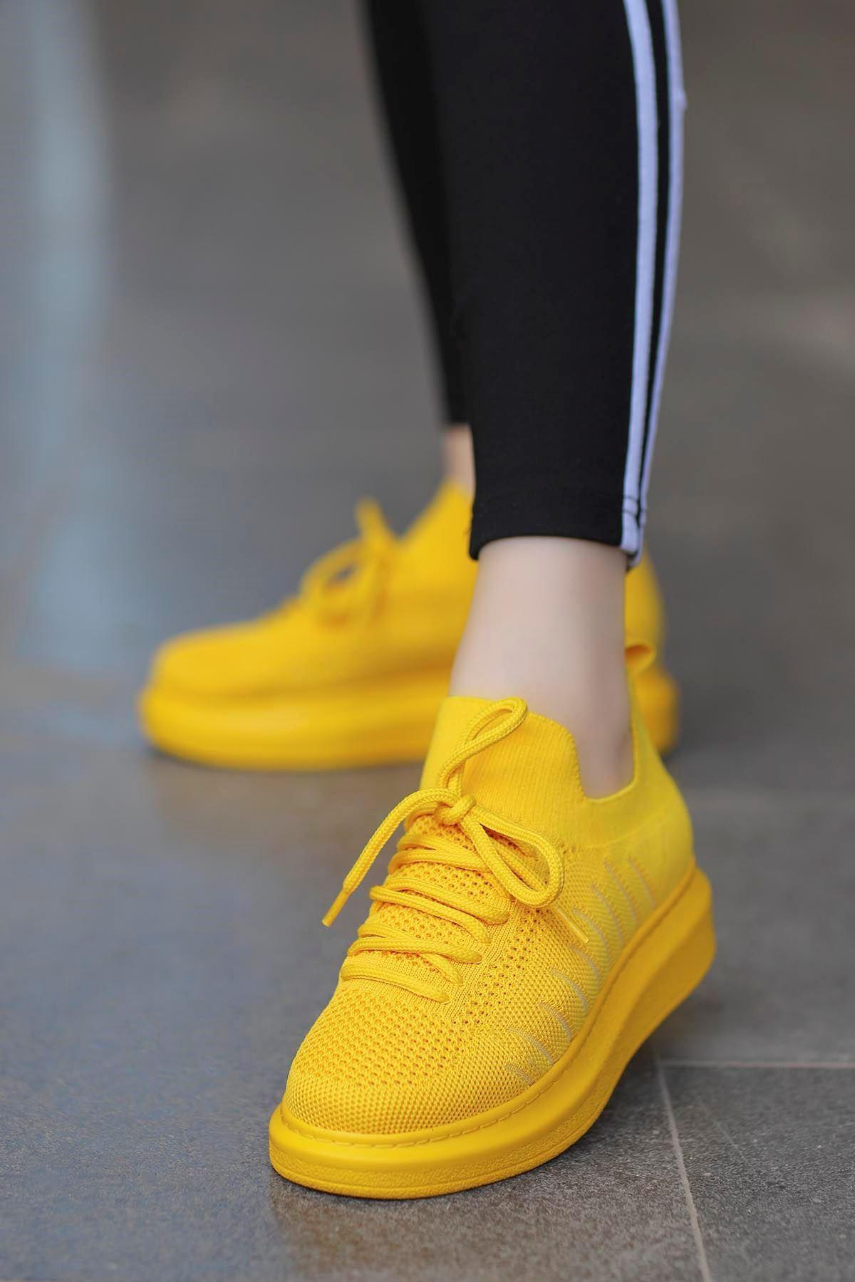 Atlas Triko Spor Ayakkabı Sarı