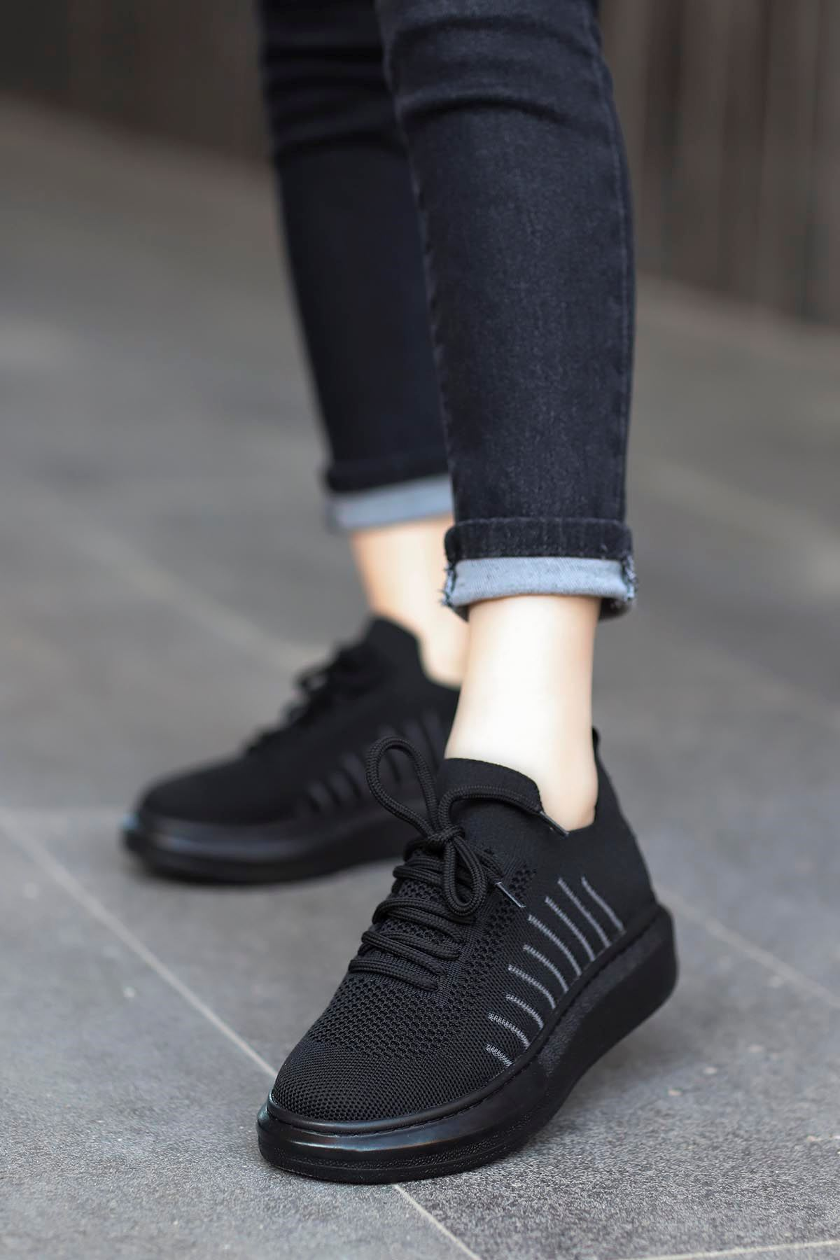 Atlas Triko Spor Ayakkabı Siyah