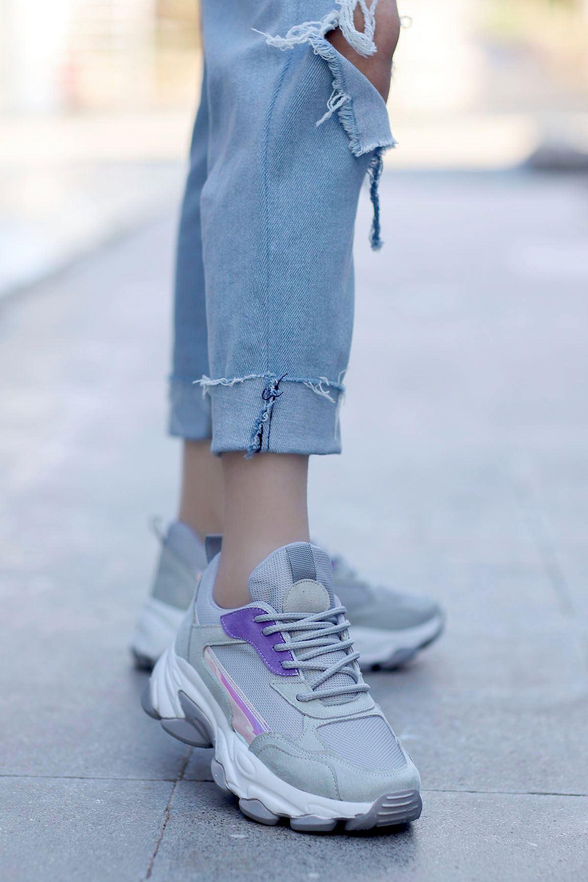 Kuki Tabanlı Spor Ayakkabı Gri