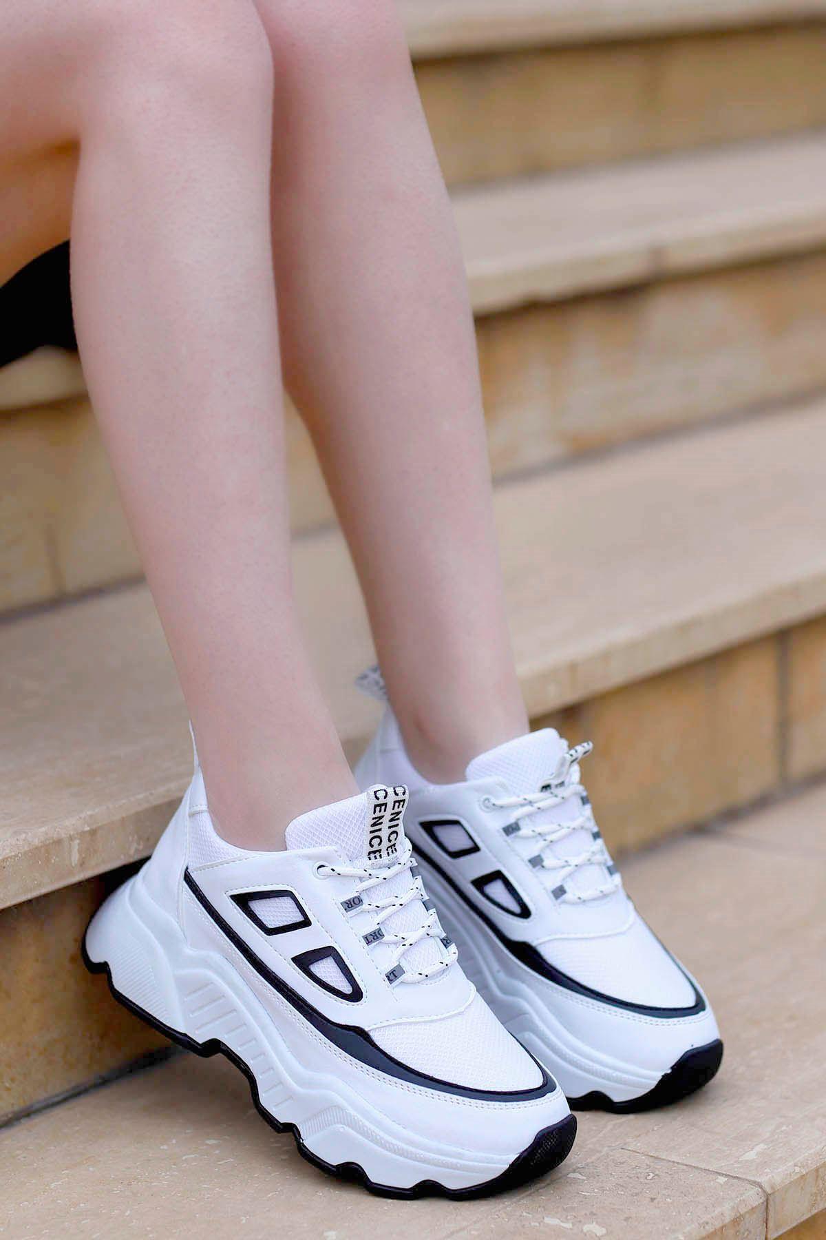 Frm-107 Spor Ayakkabı Beyaz Siyah Detay