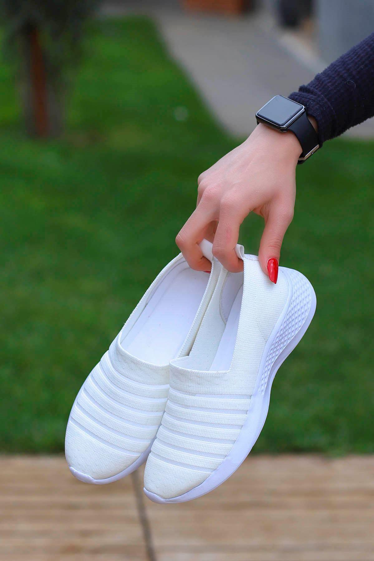 Mira Triko Spor Ayakkabı Beyaz