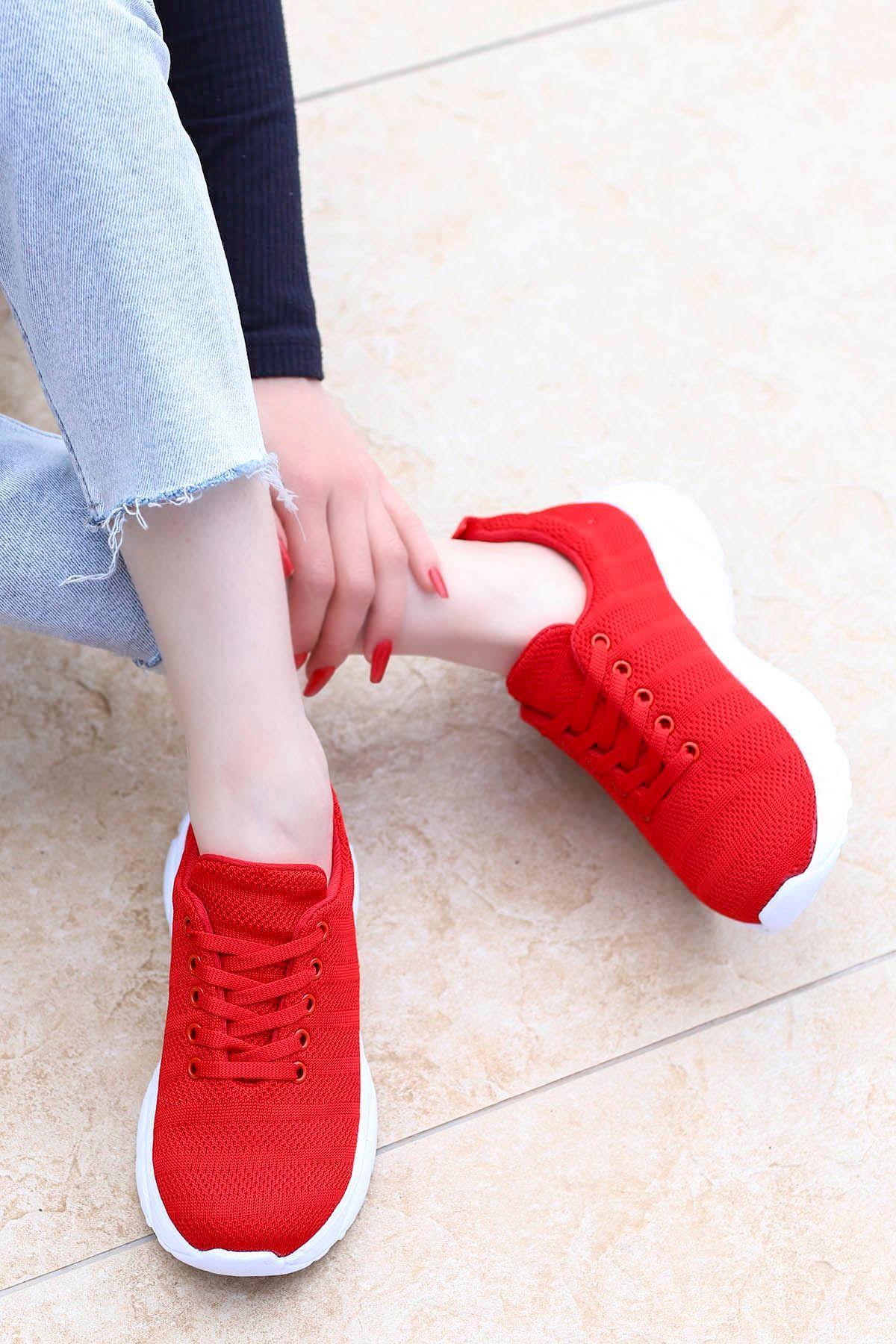 Violet Tabanlı Triko Spor Ayakkabı Kırmızı