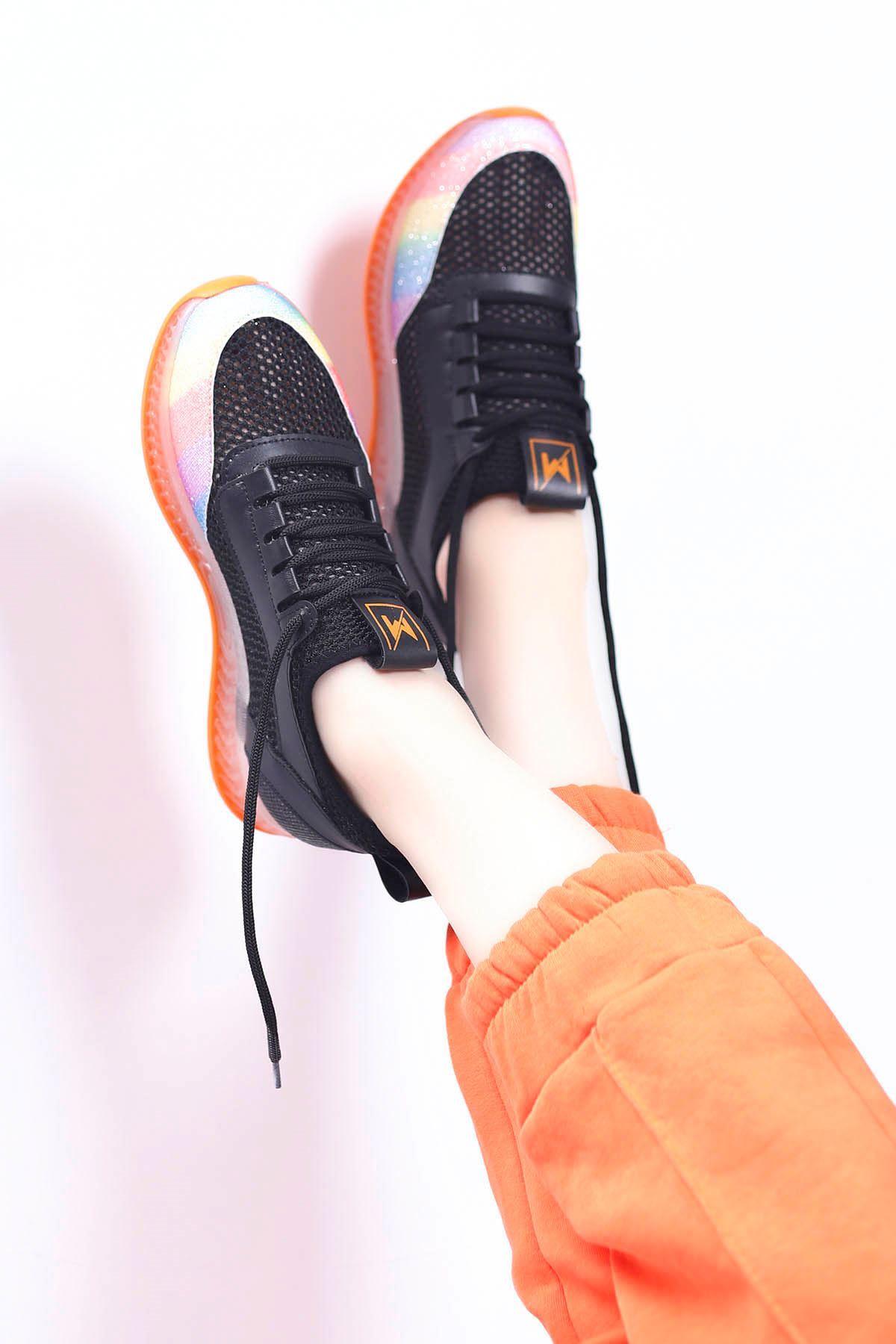 Sindirella Jel Taban Triko Spor Ayakkabı Siyah Tutuncu Taban