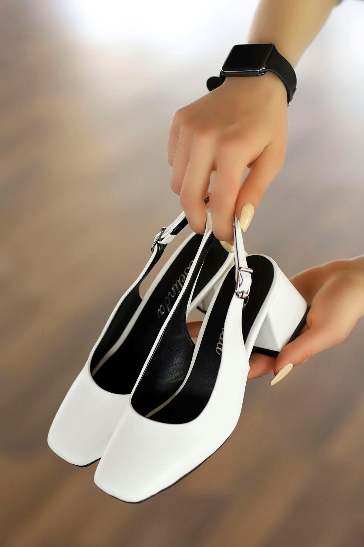 Mabel Arka Açık Topuklu Ayakkabı Beyaz Deri
