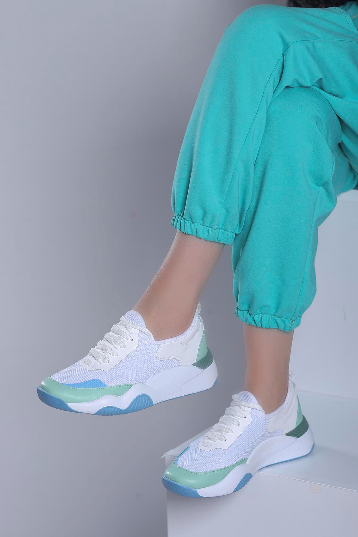 Fiesta Spor Ayakkabı Beyaz Yeşil