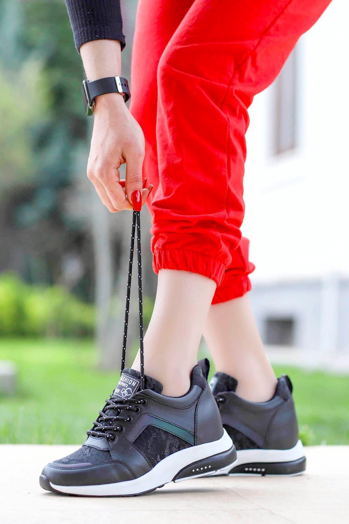Frm-1621 Gizli Topuk Spor Ayakkabı Siyah