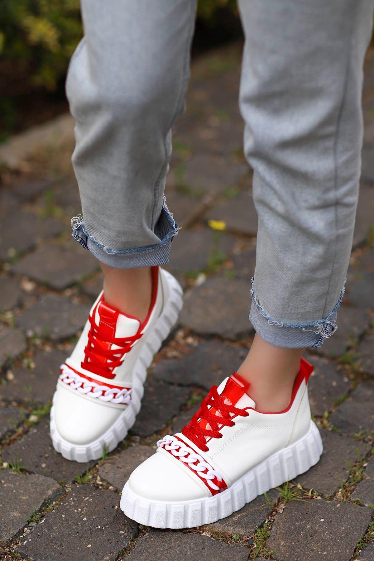 Paris Tabanlı Spor Ayakkabı Beyaz Kırmızı Detay
