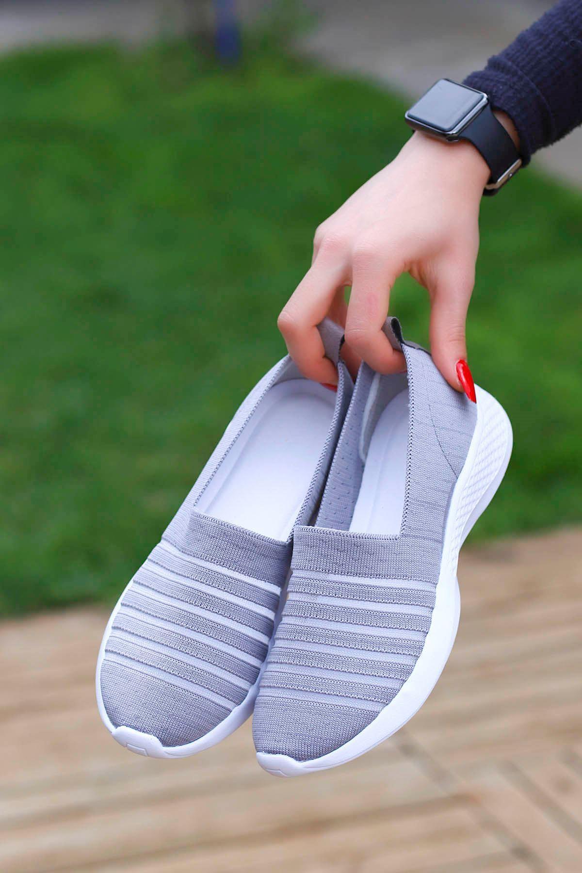 Mira Triko Spor Ayakkabı Gri