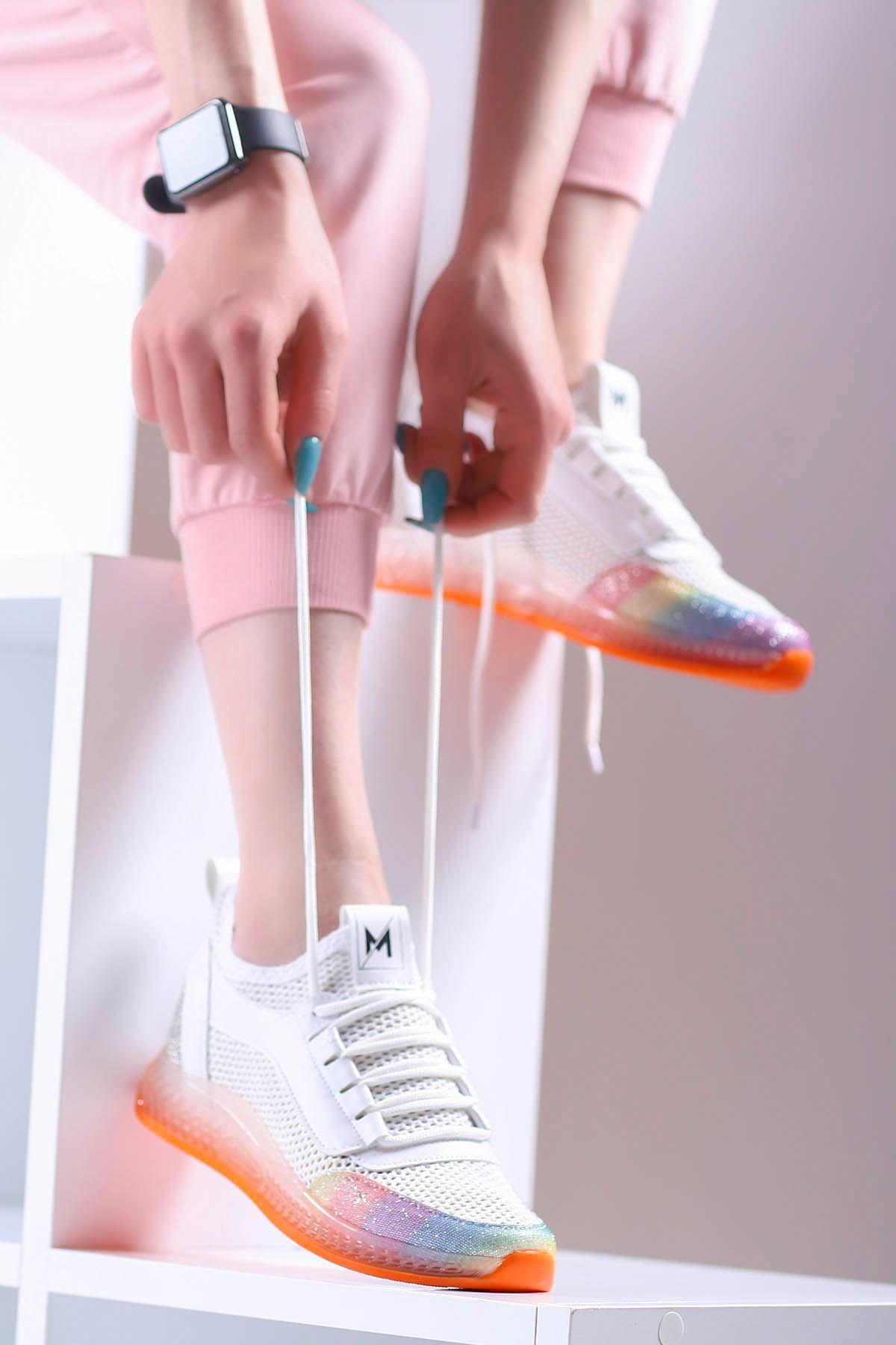 Sindirella Jel Taban Triko Spor Ayakkabı Beyaz Turuncu Taban