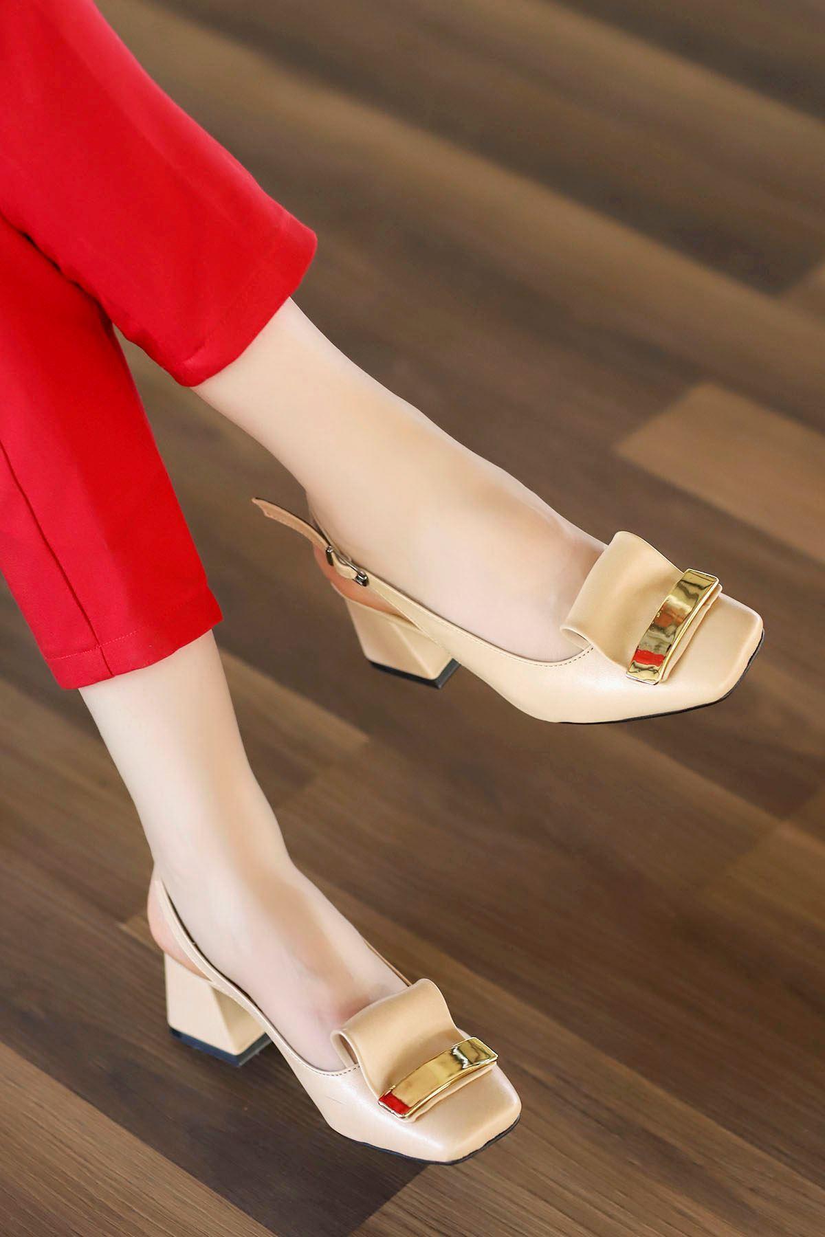 Nora Toka Detay Arka Açık Topuklu Ayakkabı Nut Deri