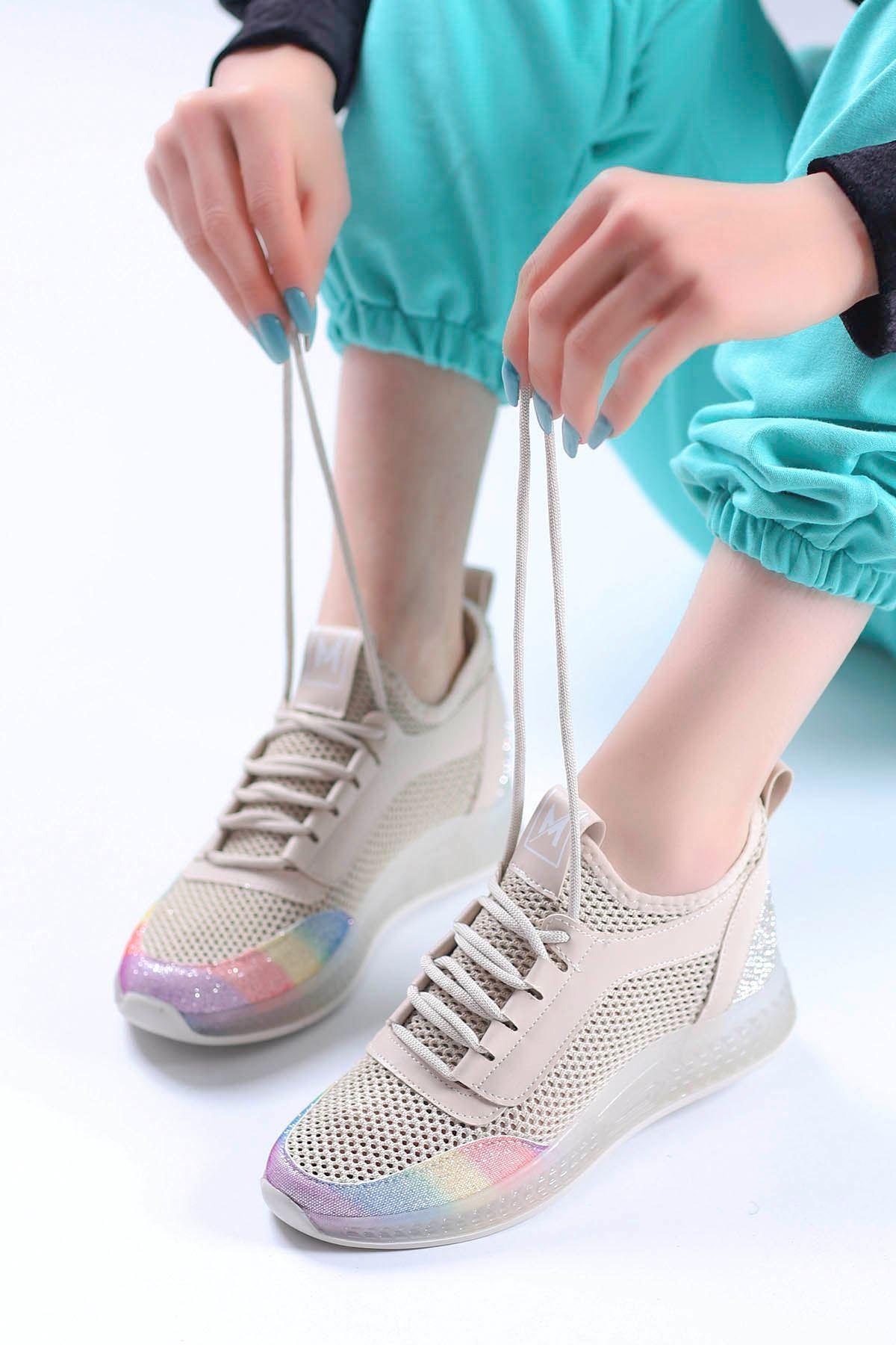 Sindirella Jel Taban Triko Spor Ayakkabı Bej