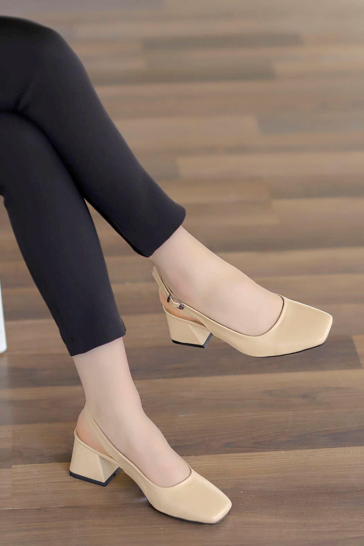 Mabel Arka Açık Topuklu Ayakkabı Nut Deri