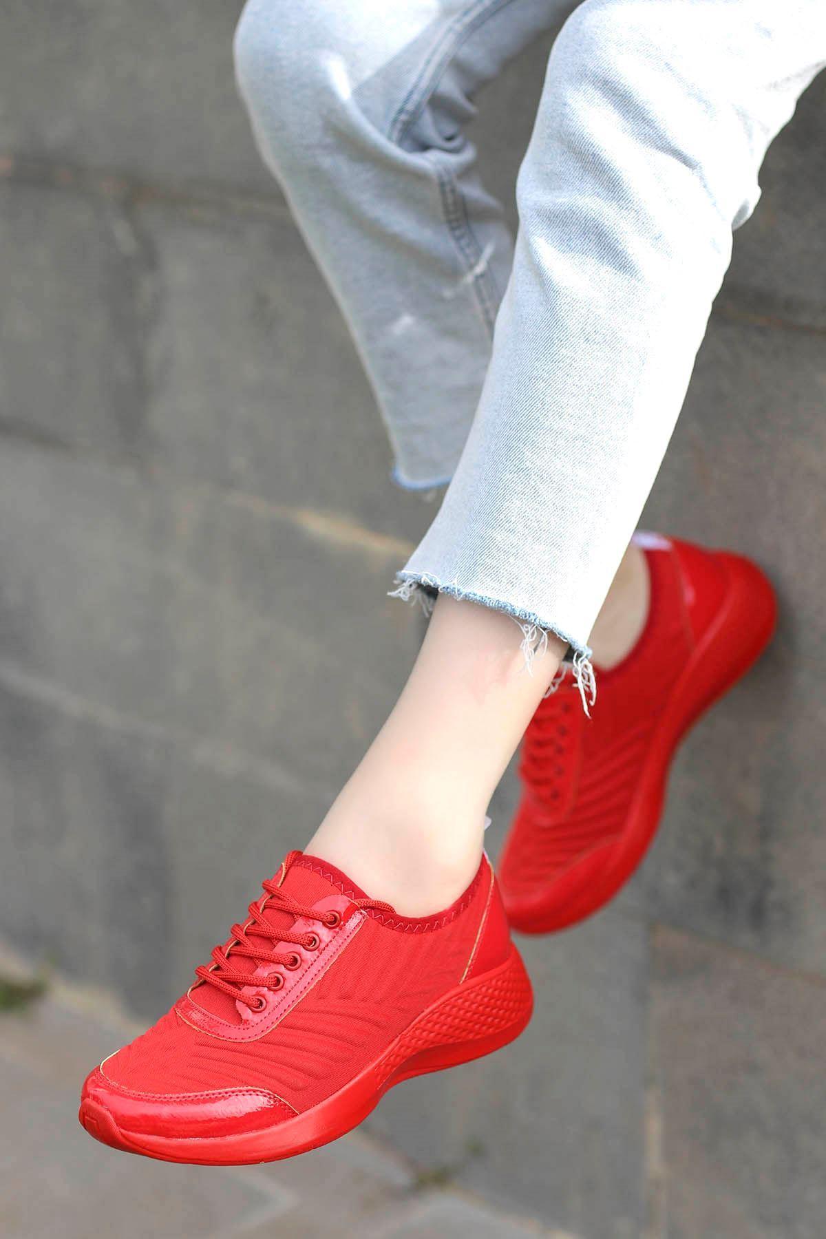 Amber Triko Spor Ayakkabı Kırmızı