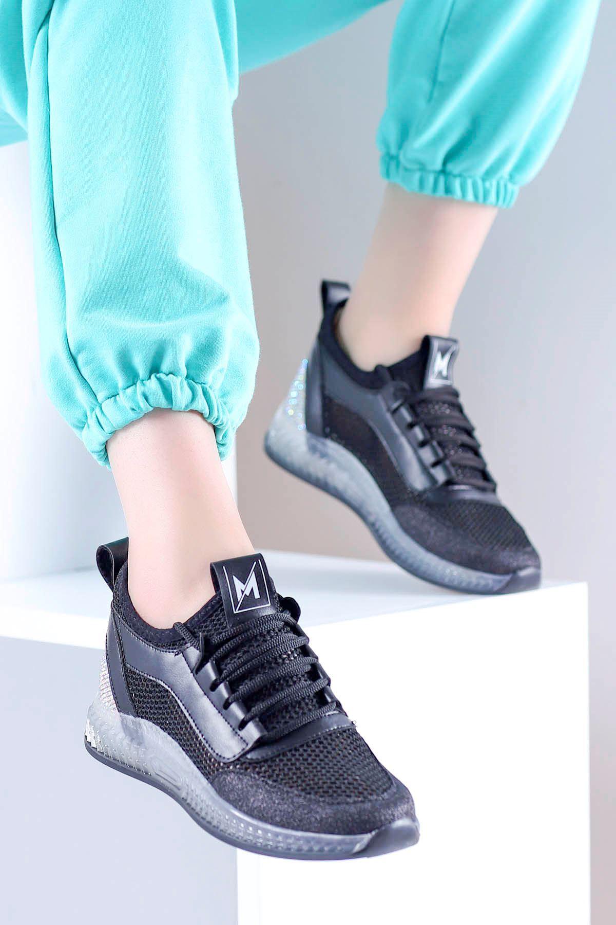 Sindirella Jel Taban Triko Spor Ayakkabı Siyah