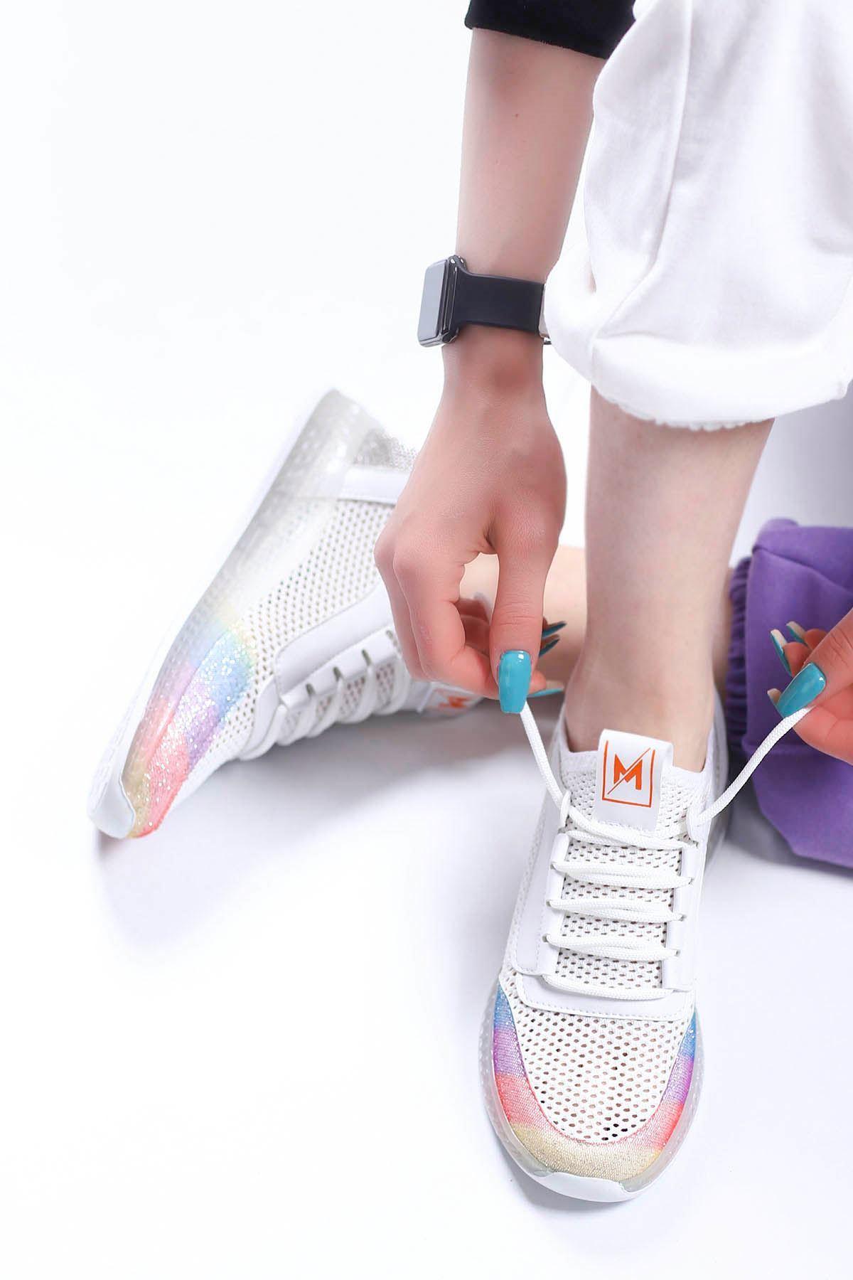 Sindirella Jel Taban Triko Spor Ayakkabı Beyaz