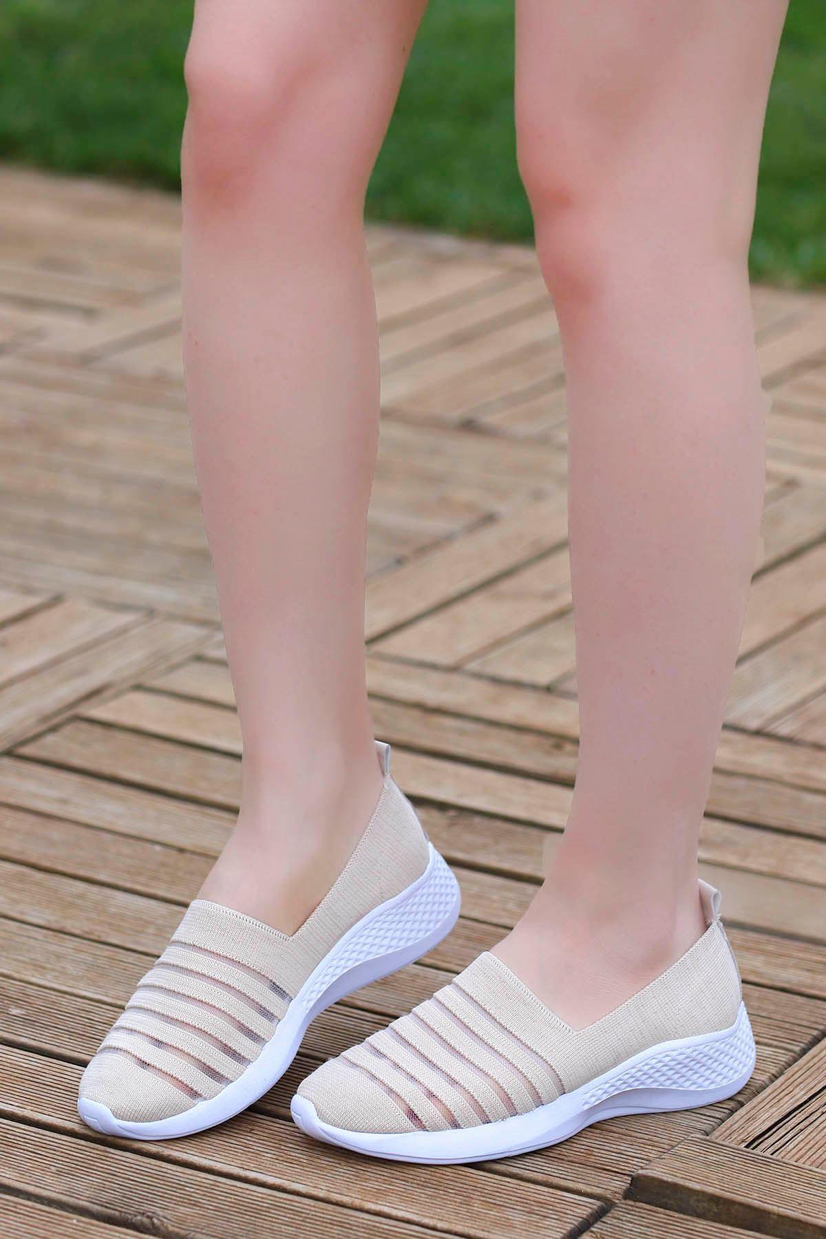 Mira Triko Spor Ayakkabı Bej