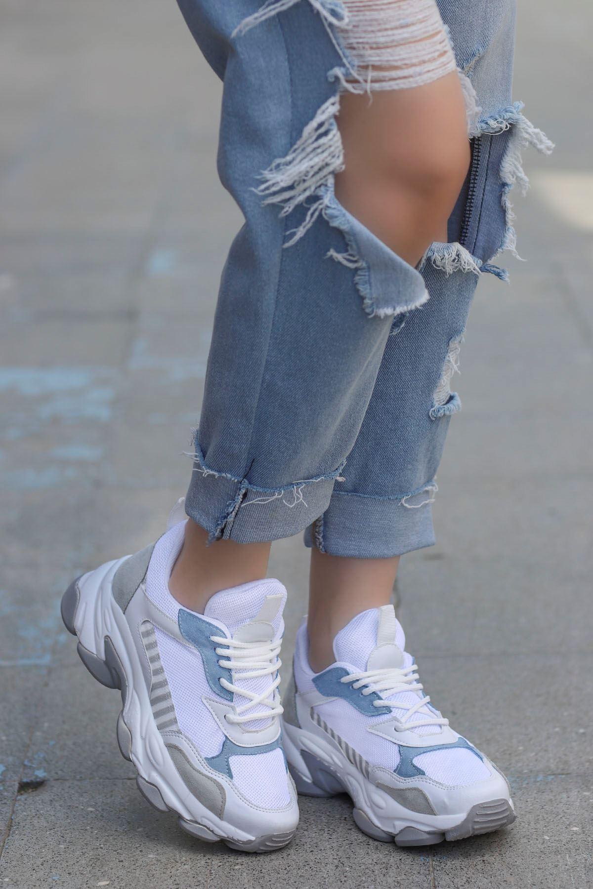 Kuki Tabanlı Spor Ayakkabı Beyaz Mavi
