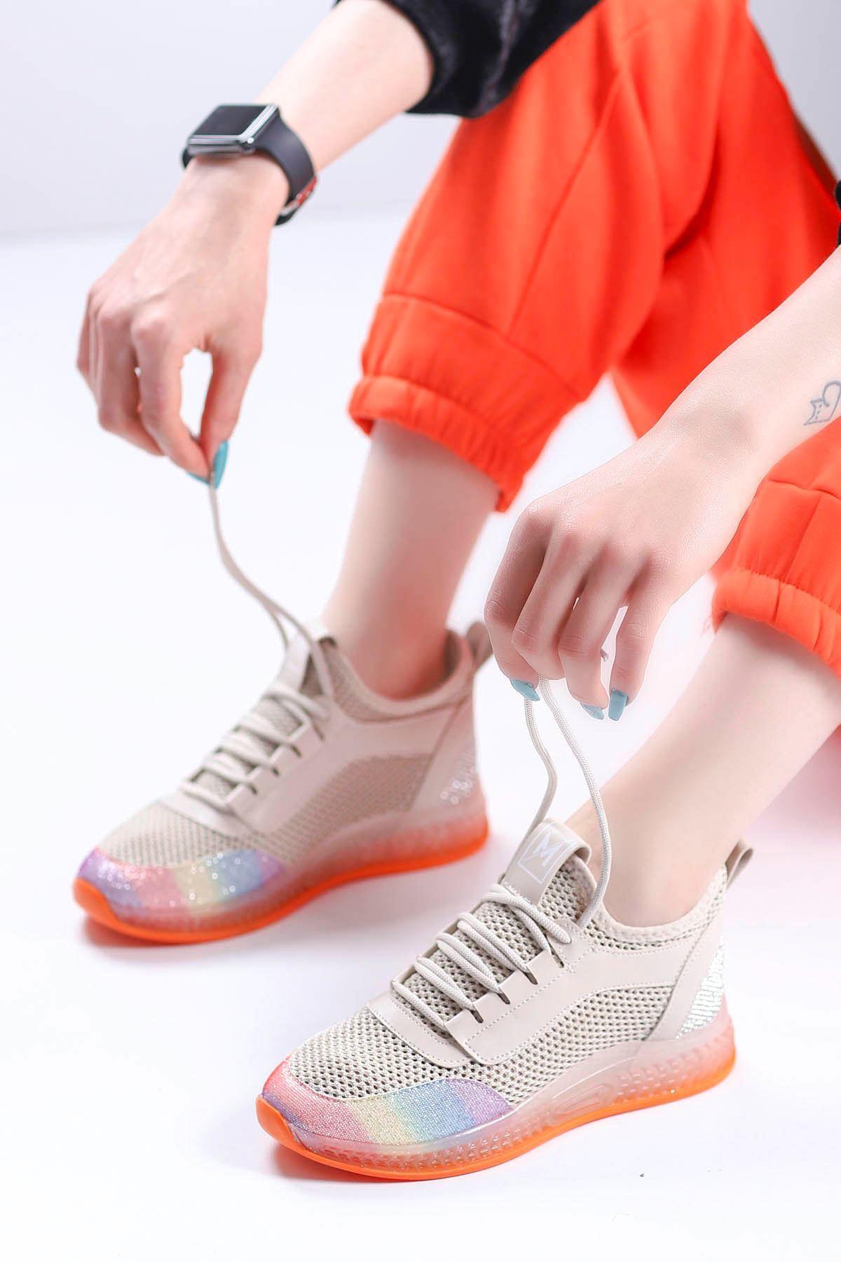 Sindirella Jel Taban Triko Spor Ayakkabı Bej Tutuncu Taban