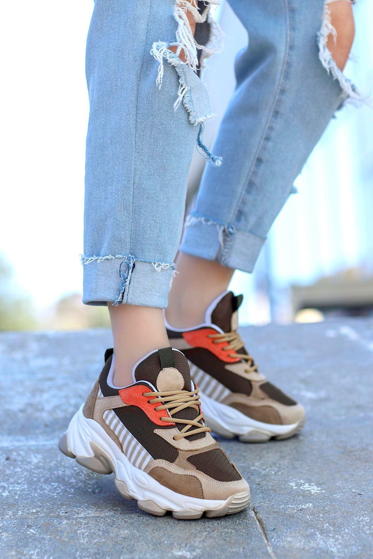 Kuki Tabanlı Spor Ayakkabı Nut Kahve
