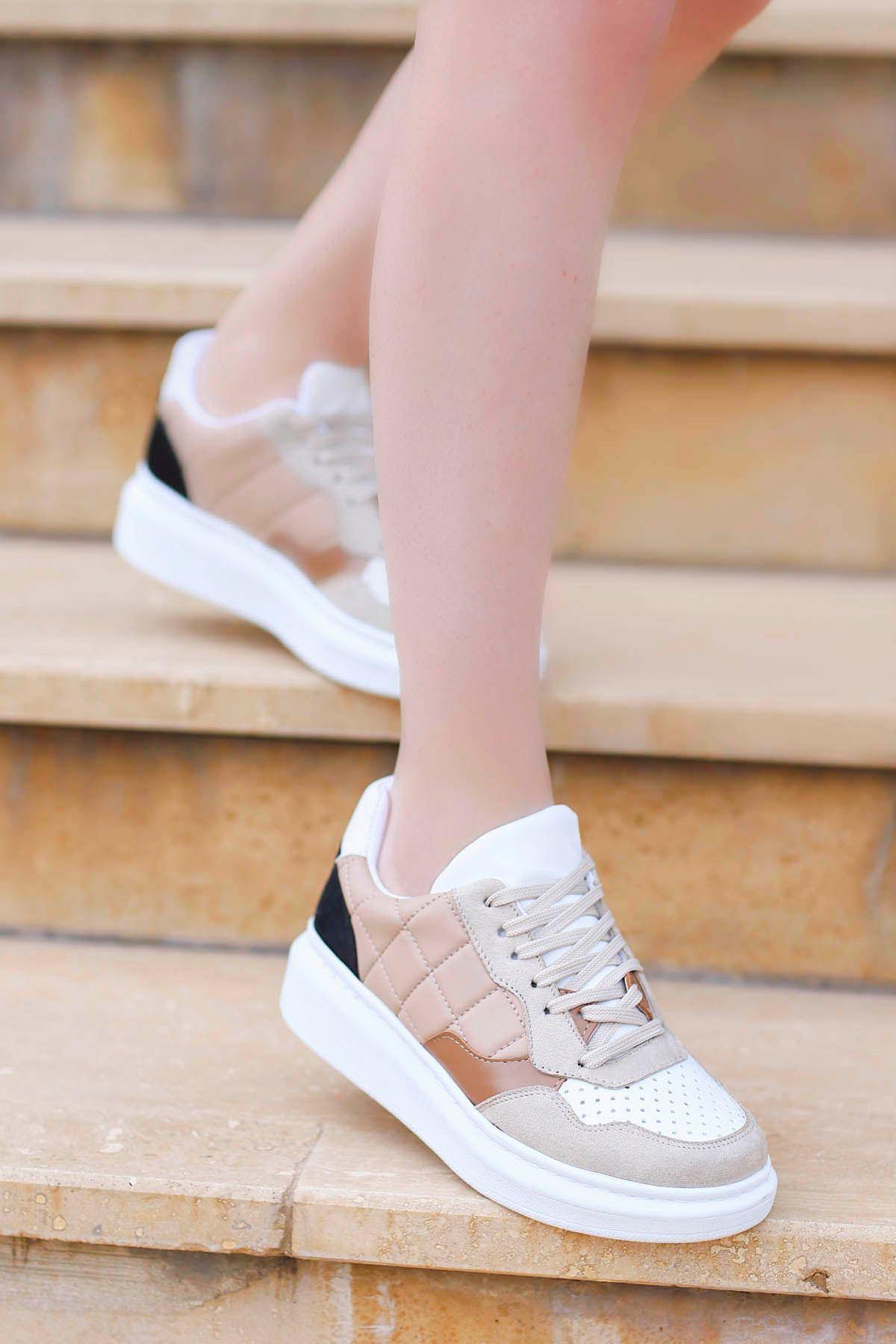 Alice Kapitone Spor Ayakkabı Nut Beyaz