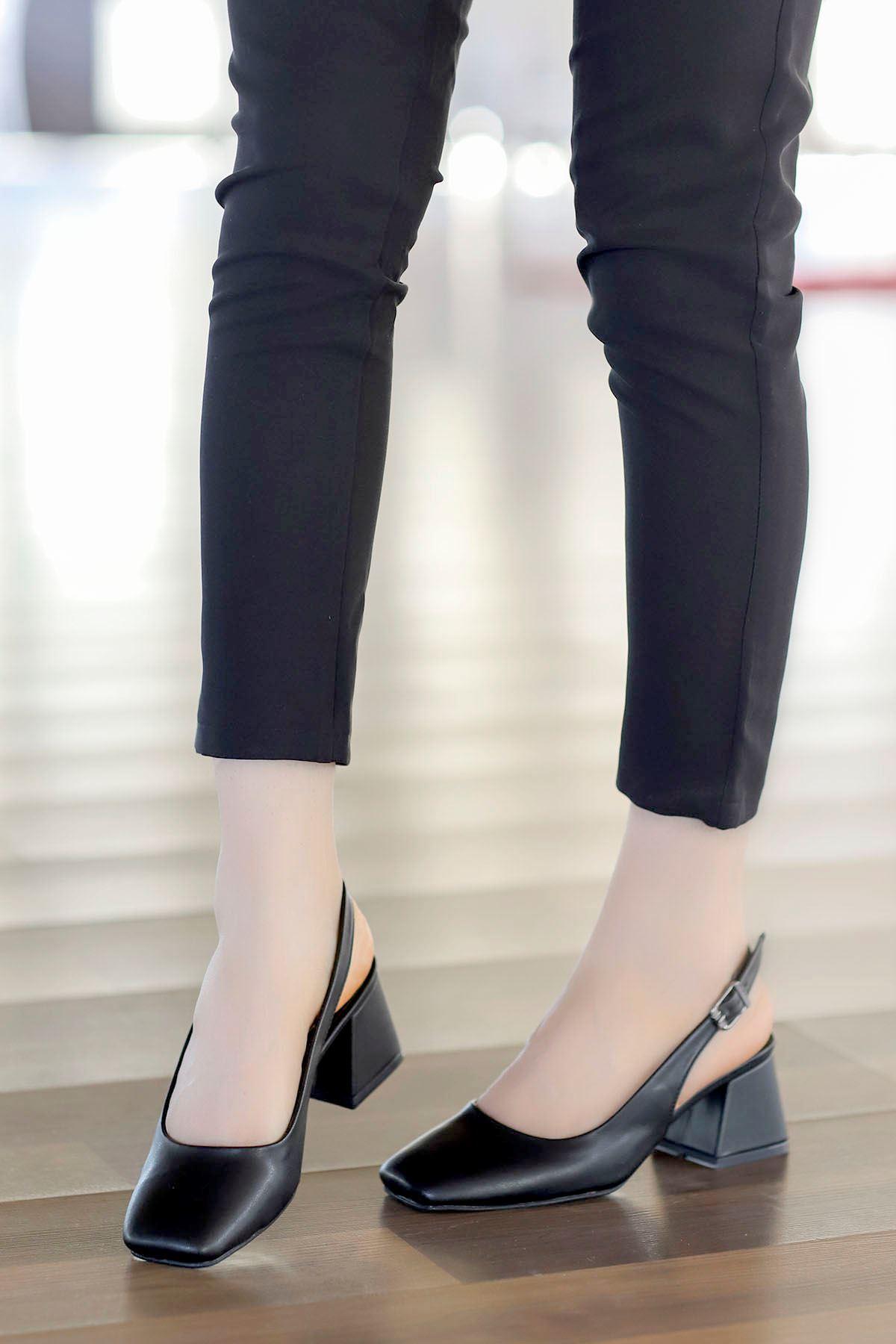 Mabel Arka Açık Topuklu Ayakkabı Siyah Deri