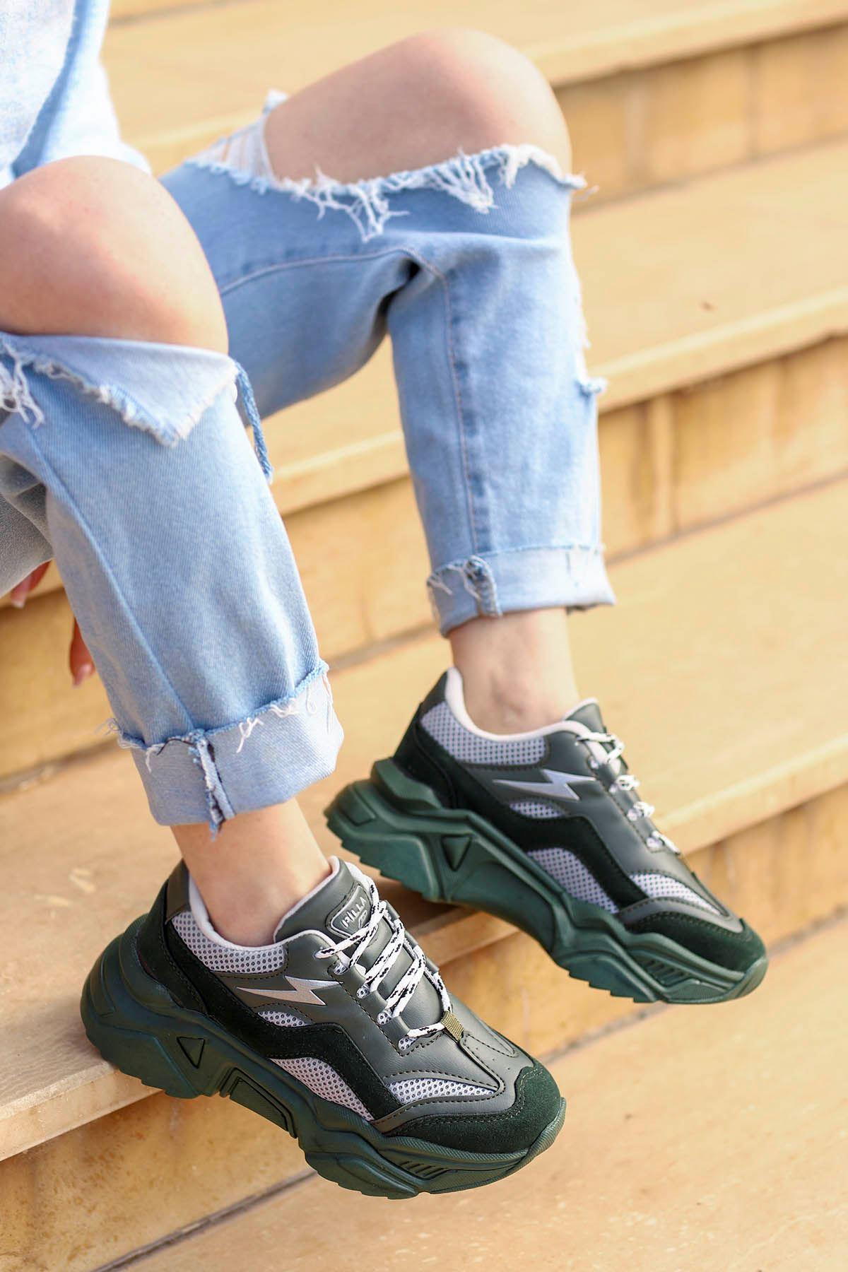 Rosse-Spor Ayakkabı Haki Gri Detay