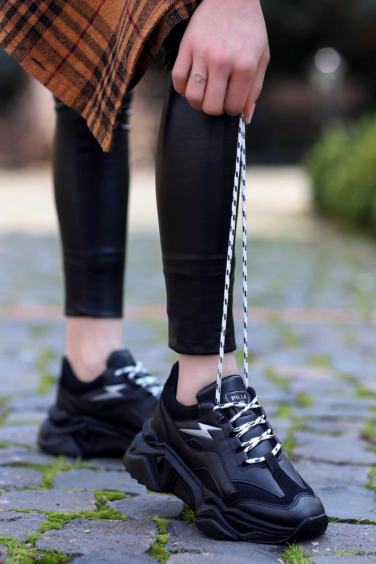 Rosse-Spor Ayakkabı Siyah Deri